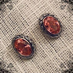 Sterling Silver Pink crystal earrings 💗💕